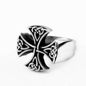 ENXICO Templar Cross Ring with Celtic Knots Pattern ? 316L Stainless Steel ? Christian Pattée Cross Jewelry (10)