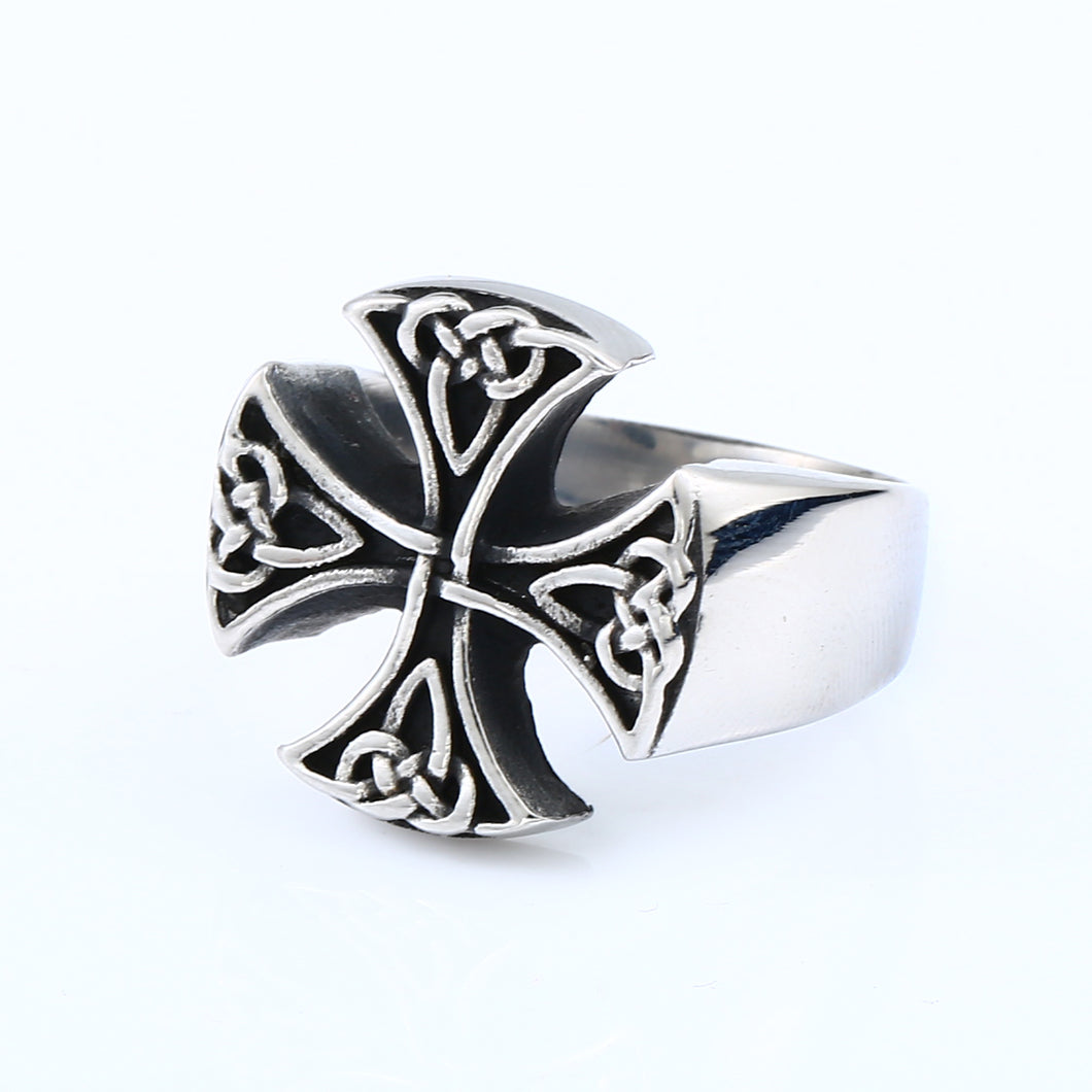 ENXICO Templar Cross Ring with Celtic Knots Pattern ? 316L Stainless Steel ? Christian Pattée Cross Jewelry