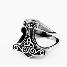 Load image into Gallery viewer, ENXICO Mjolnir Thor's Hammer Ring ? 316L Stainless Steel ? Norse Scandinavian Viking Jewelry