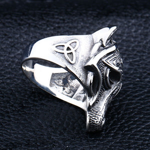 ENXICO Fenrir Wolf Head Ring ? 316L Stainless Steel ? Norse Scandinavian Viking Jewelry
