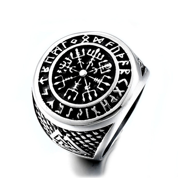 ENXICO Vegvisir The Viking Runic Compass Ring with Rune Circle and Double Valknut Symbol ? 316L Stainless Steel ? Norse Scandinavian Viking Jewelry (10)