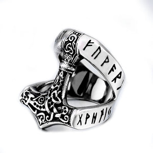 ENXICO Runic Thor's Hammer Mjolnir Ring ? 316L Stainless Steel ? Norse Scandinavian Viking Jewelry (13)