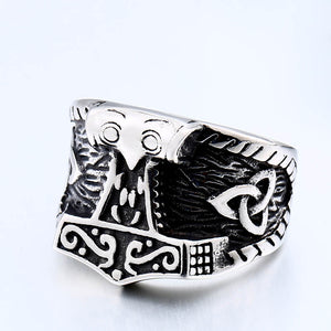ENXICO Mjolnir The Thor's Hammer Ring ? 316L Stainless Steel ? Norse Scandinavian Viking Jewelry