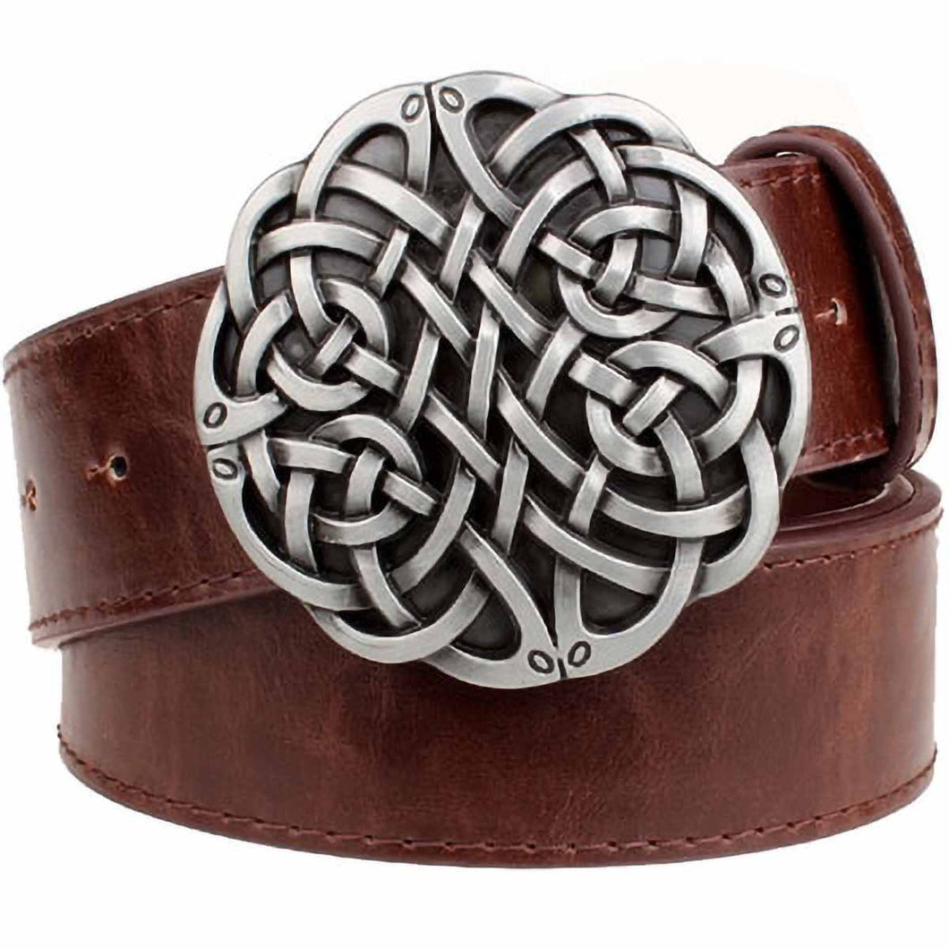 GUNGNEER Irish Celtic Trinity Knot Stripe Leather Belt Jewelry Accessories for Men Women