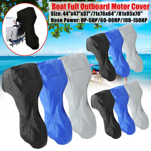 2TRIDENTS Full Boat Motor Engine Cover - Waterproof - Heavy Duty - UV Resistant - Non Scratch - Black Blue Gray Color Available (L-Black)