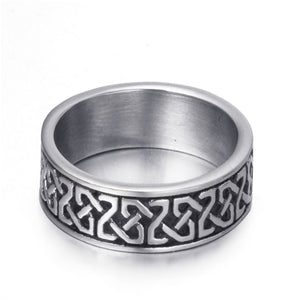 GUNGNEER Stainless Steel Ring Band Stainless Steel Celtic Knot Black Biker Jewelry