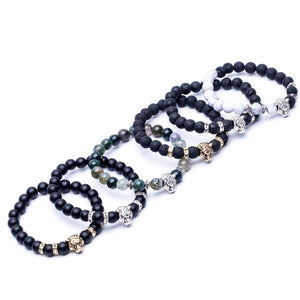 HoliStone 8mm Natural Lava Stone with Leopard/Panther Head Lucky Charm Bracelet for Women and Men