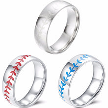 Load image into Gallery viewer, GUNGNEER Multi-Color Baseball Ring Stainless Steel Sports Jewelry Gift For Men Women