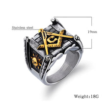 Load image into Gallery viewer, GUNGNEER Masonic Ring Square Face Vintage Style With Masonic Symbol Ring Accessory For Men