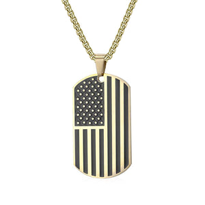 GUNGNEER Rock America Flag Tag Pendants Necklaces Women Men Stainless Steel Hip Hop Jewelry