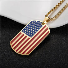 Load image into Gallery viewer, GUNGNEER Rock America Flag Tag Pendants Necklaces Women Men Stainless Steel Hip Hop Jewelry