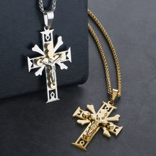 Load image into Gallery viewer, GUNGNEER Christian Cross Pendant Necklace God Jesus Chain Jewelry Gift For Men Women