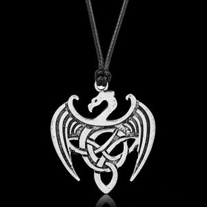 GUNGNEER Celtic Triquetra Knots Viking Dragon Trinity Pendant Necklace Stainless Steel Jewelry