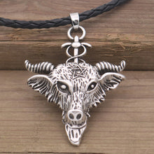 Load image into Gallery viewer, GUNGNEER Black Rope Chain Goat Head Baphomet Necklace Leather Bracelet Jewelry Set