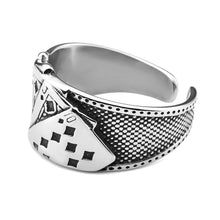 Load image into Gallery viewer, GUNGNEER Vintage Silvertone Stainless Steel Straight Flush Poker Card Lucky Ring Jewelry Men