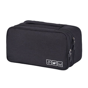 2TRIDENTS Multilayer Underwear Storage Bag 11x4.72x5.9inches Travel Clothing Cosmetic Container (Black)