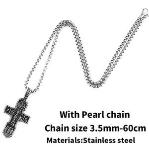 GUNGNEER Stainless Steel Christ Cross Pendant Necklace Jesus Accessory Jewelry Gift For Men