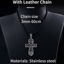 Load image into Gallery viewer, GUNGNEER Stainless Steel Christ Cross Pendant Necklace Jesus Accessory Jewelry Gift For Men