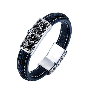 GUNGNEER Stainless Steel Gothic Punk Snake Skull Halloween Ring Leather Bracelet Jewelry Set