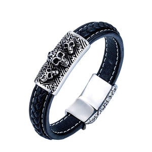 GUNGNEER Skeleton Skull Double Layers Leather Bracelet Bangle Ring Protection Jewelry Set