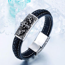 Load image into Gallery viewer, GUNGNEER Skeleton Skull Double Layers Leather Bracelet Bangle Ring Protection Jewelry Set