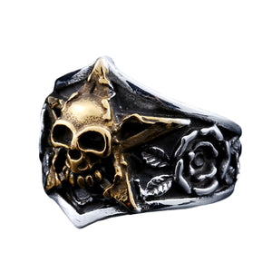 GUNGNEER Pentagram Skull Stainless Steel Ring Leather Bracelet Power Jewelry Set Men Women