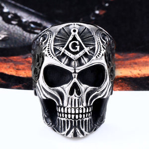 GUNGNEER Masonic Ring Black Skull Multi-size Stainless Steel Freemason Symbol Jewelry For Men