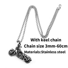 Load image into Gallery viewer, GUNGNEER Stainless Steel Skull Motorcycle Necklace Bracelet Bangle Gothic Skeleton Jewelry Set