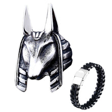 Load image into Gallery viewer, GUNGNEER Egypt God Anubis Ring Leather Bracelet Stainless Steel Egyptian Pyramid Jewelry Set