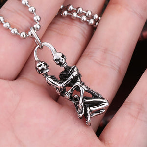 GUNGNEER Skeleton Skull Gothic Vampire Necklace Ring Stainless Steel Jewelry Set Men Women