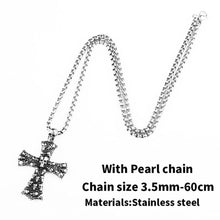 Load image into Gallery viewer, GUNGNEER Men's Stainless Steel Christ Cross Skull Pendant Necklace Jewelry Accessory
