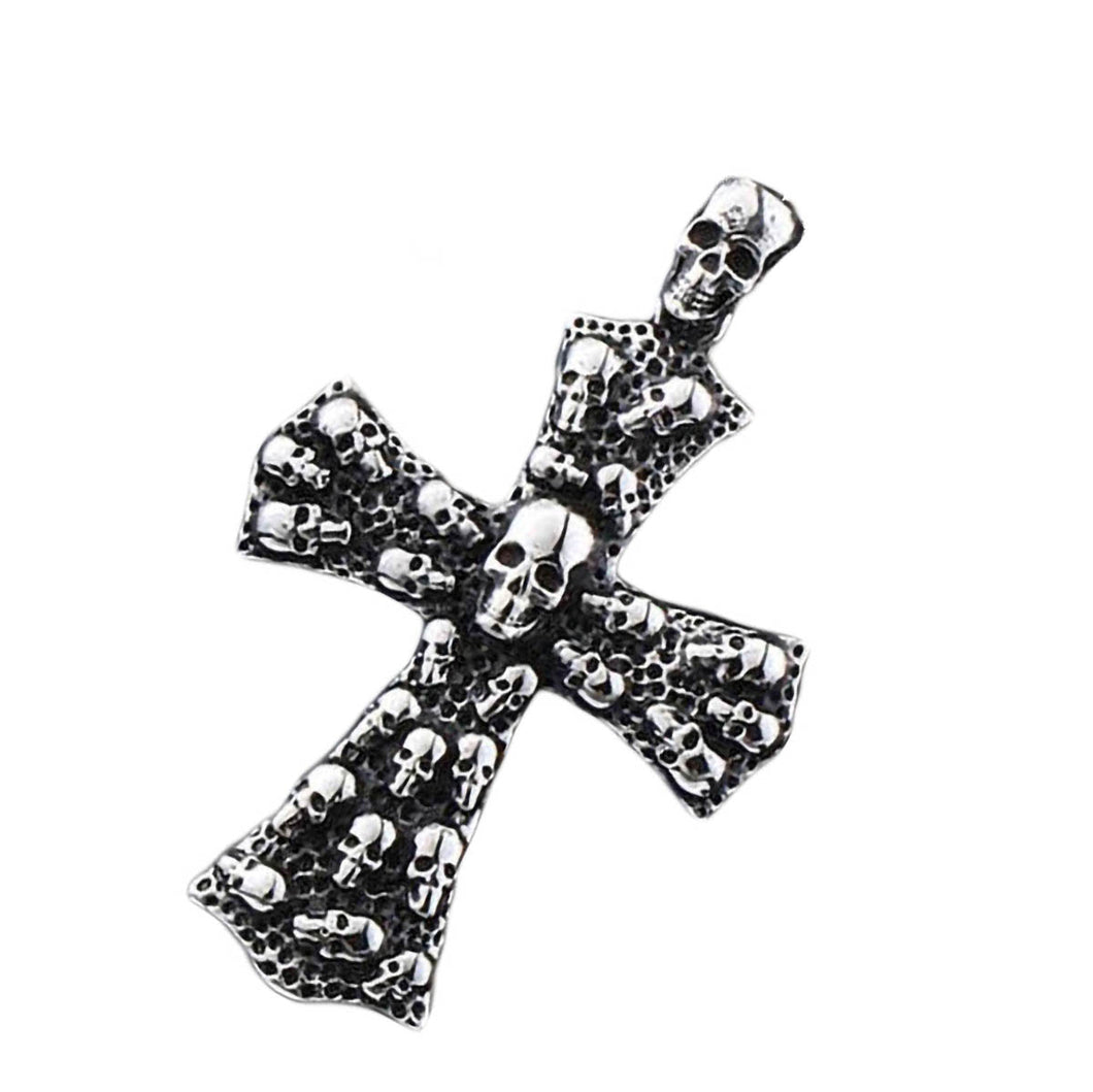 GUNGNEER Men's Stainless Steel Christ Cross Skull Pendant Necklace Jewelry Accessory