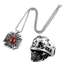 Load image into Gallery viewer, GUNGNEER Stainless Steel Skull Cross Necklace Ring Gothic Protection Jewelry SetMen Women