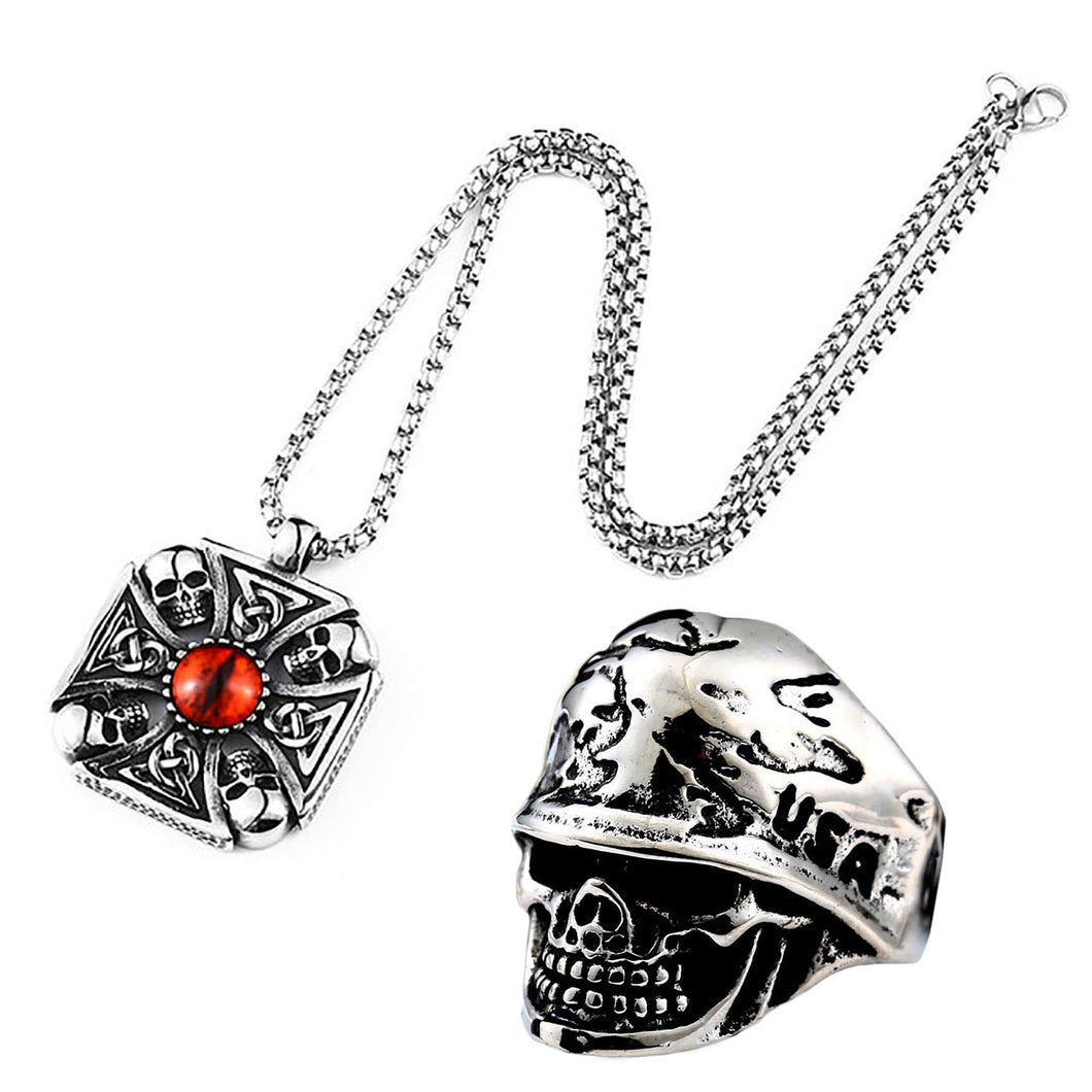 GUNGNEER Stainless Steel Skull Cross Necklace Ring Gothic Protection Jewelry SetMen Women