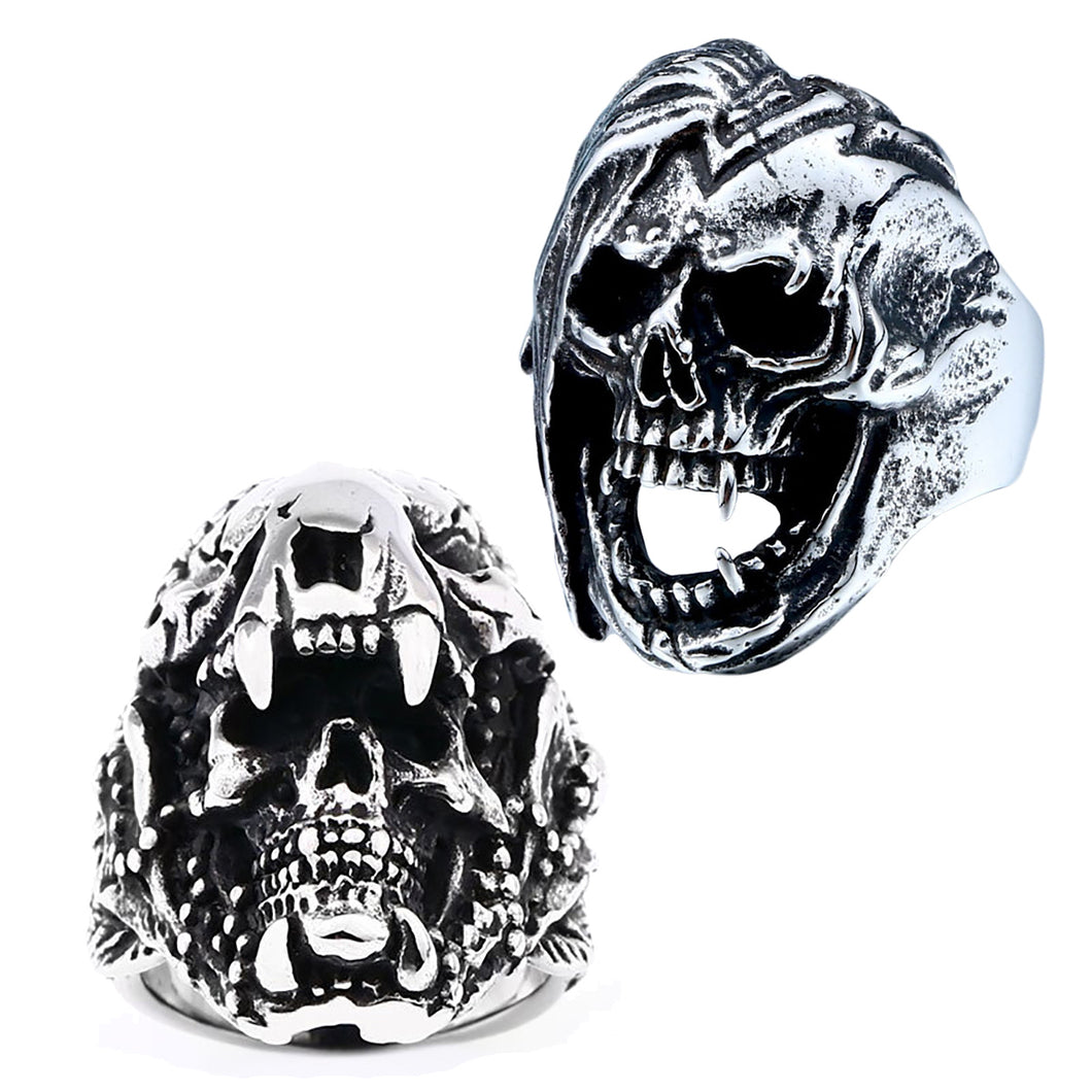 GUNGNEER 2Pcs Gothic Punk Skull Warrior Band Ring Stainless Steel Halloween Jewelry Set Men