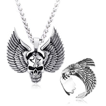 Load image into Gallery viewer, GUNGNEER Stainless Steel Wing Skull Pendant Necklace Biker Eagle Ring Jewelry Set Men Women