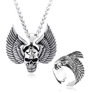 GUNGNEER Stainless Steel Wing Skull Pendant Necklace Biker Eagle Ring Jewelry Set Men Women
