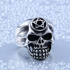 GUNGNEER Wicca Pentagram Pentacle Skull Ring Leather Rope Bracelet Gothic Punk Jewelry Set