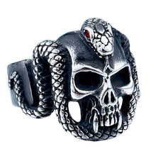 Load image into Gallery viewer, GUNGNEER Stainless Steel Gothic Punk Snake Skull Halloween Ring Leather Bracelet Jewelry Set