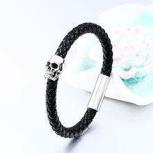 Load image into Gallery viewer, GUNGNEER Wicca Pentagram Pentacle Skull Ring Leather Rope Bracelet Gothic Punk Jewelry Set