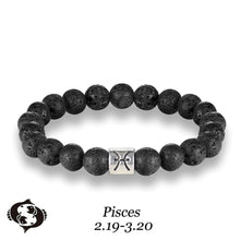 Load image into Gallery viewer, HoliStone 12 Zodiac Signs with 8mm Lava Stone Bead Handmade Elastic Bracelet for Women and Men