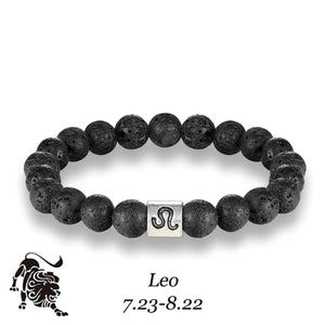 HoliStone 12 Zodiac Signs with 8mm Lava Stone Bead Handmade Elastic Bracelet for Women and Men