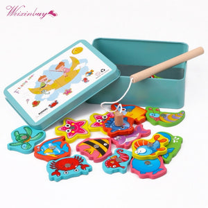 2TRIDENTS Baby Safe Funny Educational Toy Box Fishing Wooden Game Gift for Girl Boy Kids