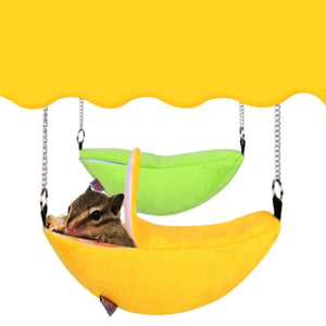 2TRIDENTS Small Animal Hammock Small Animals Cotton Cage Sleeping Nest Pet Bed Rat Hamster Toys Cage (Yellow)