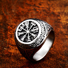 Load image into Gallery viewer, GUNGNEER Vegvisir Viking Compass Thor Hammer Stainless Steel Ring Amulet Jewelry Set