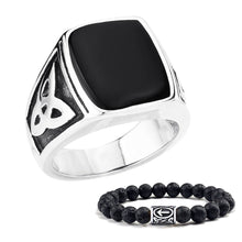 Load image into Gallery viewer, GUNGNEER Stainless Steel Celtic Knot Triquetra Ring Beaded Bracelet Jewelry Set Men Women