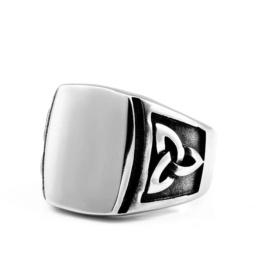 GUNGNEER Celtic Knot Triquetra Stainless Steel Ring Amulet Jewelry Accessories for Men Women