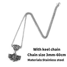 Load image into Gallery viewer, GUNGNEER Stainless Steel Viking Nordic Thor Hammer Pendant Necklace with Bracelet Jewelry Set