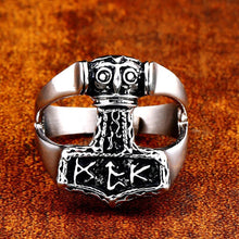Load image into Gallery viewer, GUNGNEER 2Pcs Mjolnir Thor Hammer Ring Amulet Stainless Steel Jewelry Gift for Men Women