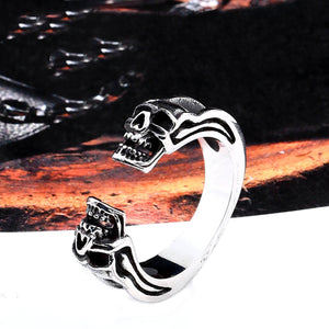 GUNGNEER Stainless Steel Biker Skull Ring Bear Necklace Punk Halloween Jewelry Set Men Women